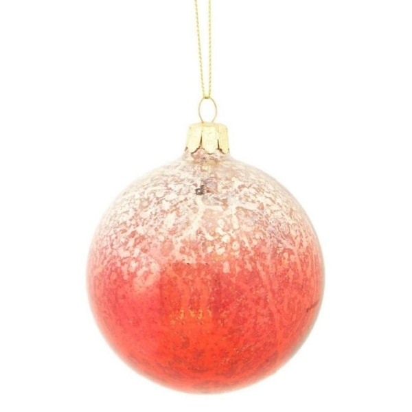 "3.5"" Crimson Red and Silver Ombre Mercury Glass Christmas Ball Ornament"