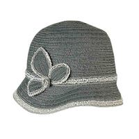 August Accessories Women's Asymmetrical Floral Cloche - Black - os