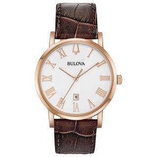 Link to Bulova Men's 97B184 Rosetone Stainless Brown Leather Strap Watch Similar Items in Women's Watches