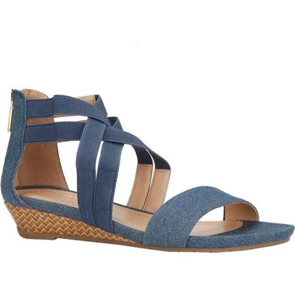 e32d0104a3 Kenneth Cole Reaction Women's Great Stretch Cross Strap Sandal Blue  Denim