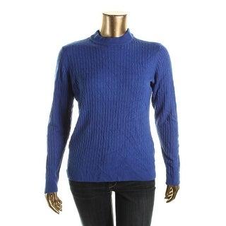 Karen Scott Womens Cable Knit Long Sleeves Mock Turtleneck Sweater