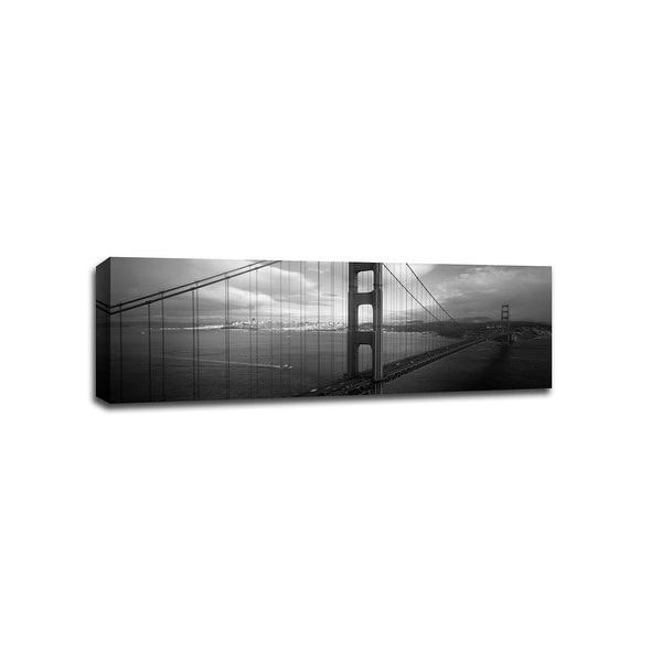 Aerial View Golden Gate Bridge - B&W Cityscapes - 48x16 Gallery Wrapped Canvas Wall Art B&W