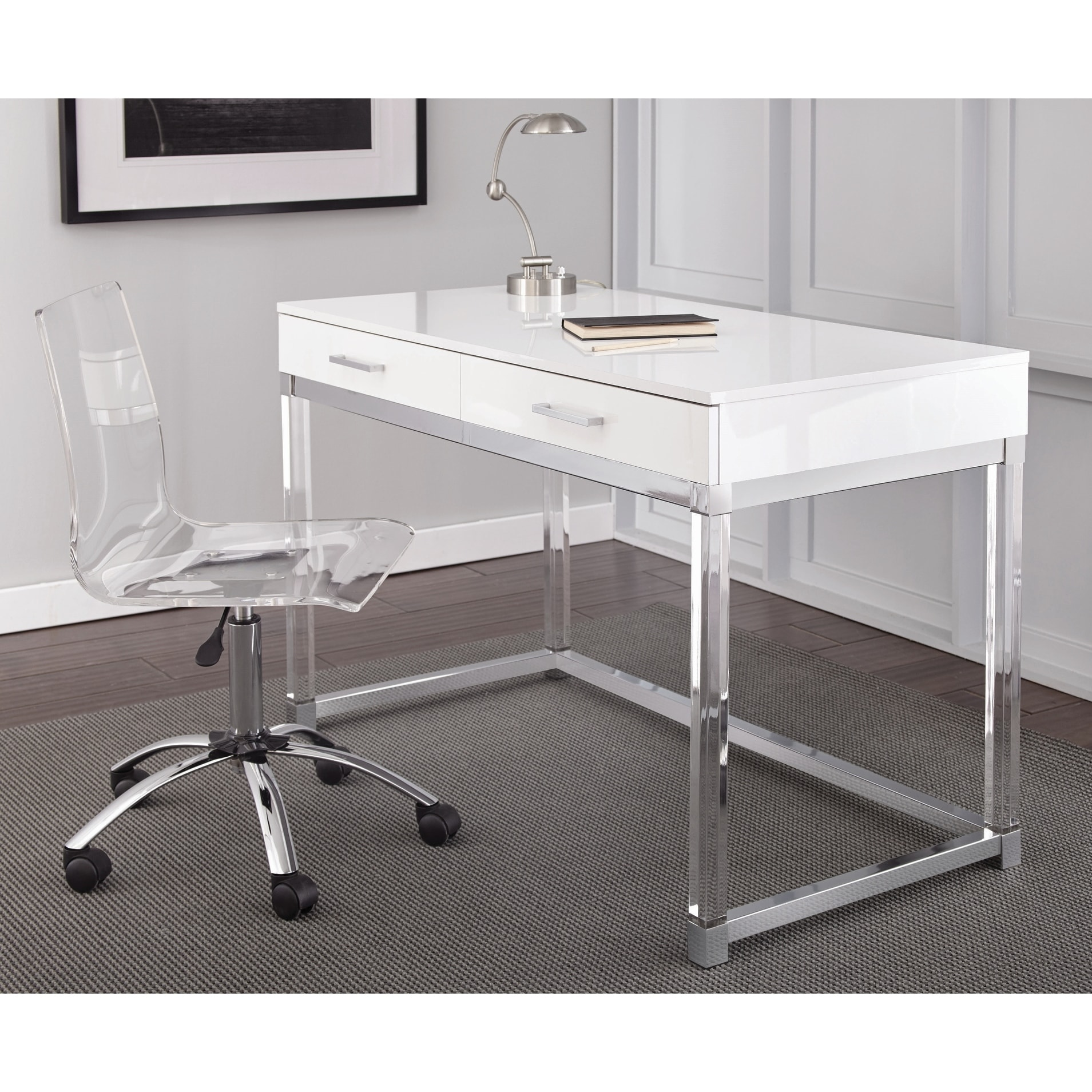 Shop Black Friday Deals On Arlo Modern Chrome And White Laminate Desk By Greyson Living Overstock 30534268