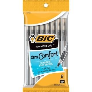 BIC Ultra Round Stic Classic Ballpoint Pen with Grip Medium Point 1.2 mm Black 8 ct