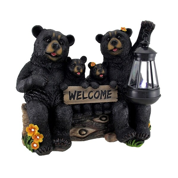 Beaming Bears Welcome Statue w/Solar LED Lantern - 11 X 12.5 X 6 inches