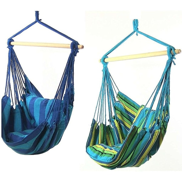 Sunnydaze Hanging Hammock Swing with Two Cushions - Set of 2 - Options Available