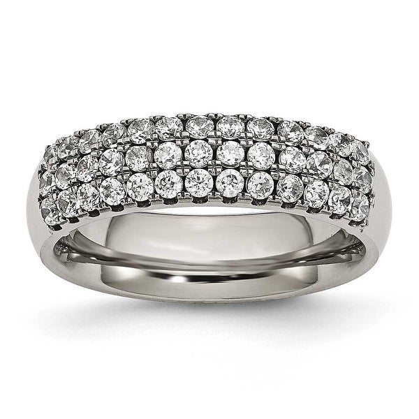 Titanium Multi-row CZ Ring (6 mm)