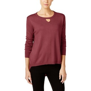 One A Womens Pullover Sweater Chiffon-Back Keyhole