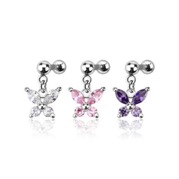 Surgical Steel Multiple CZ Butterfly Dangle Cartilage/Tragus Barbell (Sold Ind.)