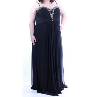Womens Black Spaghetti Strap Full Length Sheath Prom Dress Size: 20W