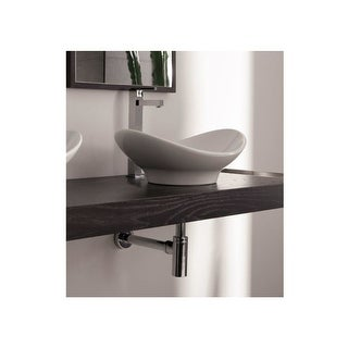 "Nameeks 8207  Scarabeo 19-1/4"" Ceramic Vessel Bathroom Sink - White / No Hole"
