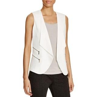 Calvin Klein Womens Casual Vest Zipper Trim Crepe