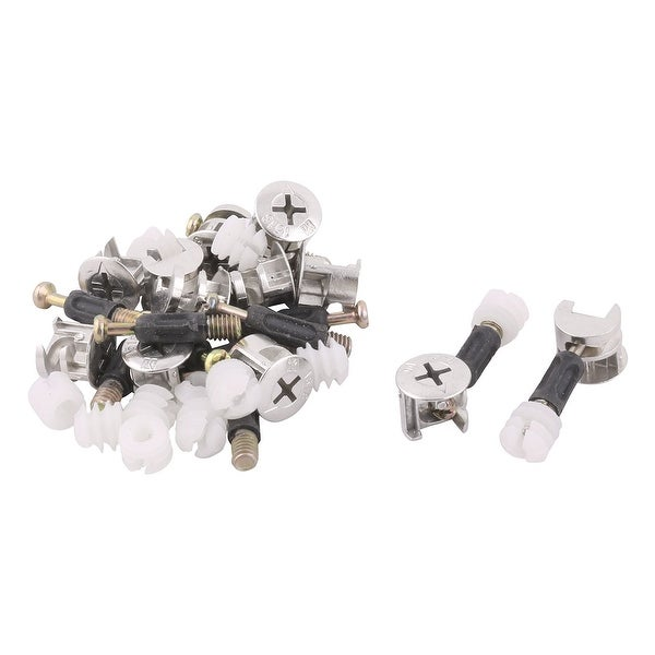 Metal Furniture Drawer Cam Lock Connecting Fitting Dowel Nut Assembly 12 Sets