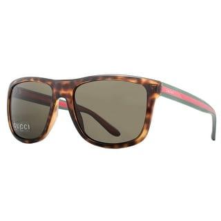 GUCCI Square GG 1118/S Men's M15/70 Shiny Havana Brown Sunglasses - 57mm-18mm-145mm