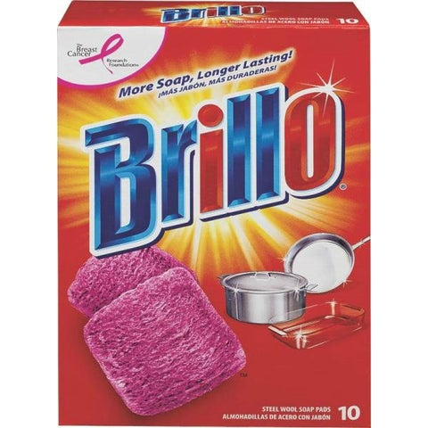 Brillo 23310 Steel Wool Soap Pad, 10 Count