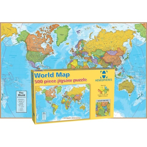 """World Map Jigsaw Puzzle, 500 Pieces - 24"""" x 36"""""""