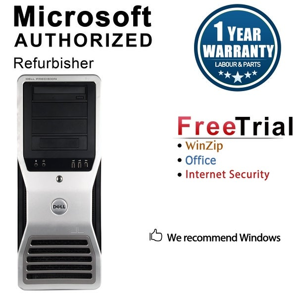 Dell Precision T7500 Workstation Tower Intel Xeon E5620 2.4G 8GB DDR3 2TB NVS300 Windows 10 Pro 1 Year Warranty (Refurbished)