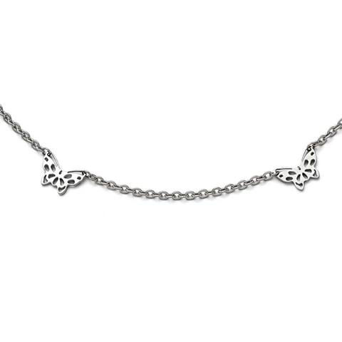 Chisel Stainless Steel Polished Butterfly Charms Anklet (1 mm) - 9.5 in