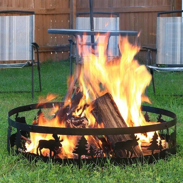 Sunnydaze Wild Moose Black Steel 36in Campfire Ring Outdoor Northwoods Decor