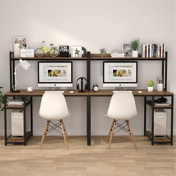 Shop 94 5 Inch Computer Desk With Hutch Extra Long Two Person Desk With Shelves Overstock 31569156