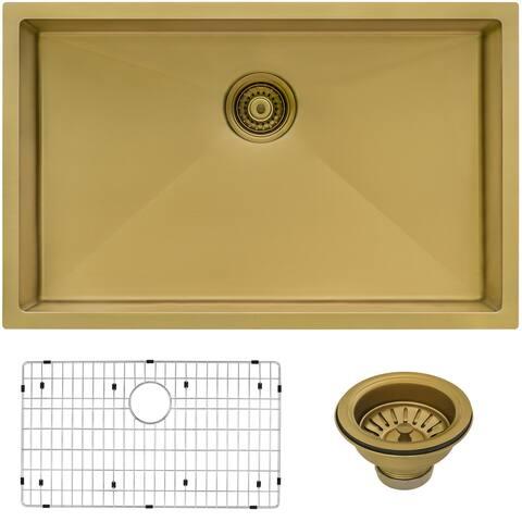 Ruvati 27-inch Undermount Satin Matte Gold Stainless Steel Kitchen Sink 16 Gauge Single Bowl - 8' x 11'