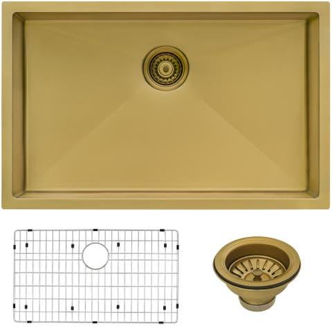 Ruvati 33-inch Undermount Satin Matte Gold Stainless Steel Kitchen Sink 16 Gauge Single Bowl - 8' x 11'
