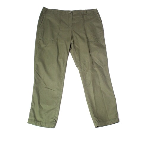 Nordstrom Dark Green Womens Size 16 Button-Front Pants Stretch