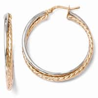 Italian Sterling Silver Rose Gold-plated Hinged Hoop Earrings