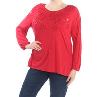 INC Womens Red Embellished Long Sleeve Jewel Neck Wear To Work Top  Size: XL