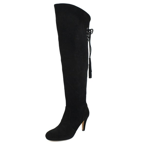 Vince Camuto Cherline Women Round Toe Suede Black Over the Knee Boot