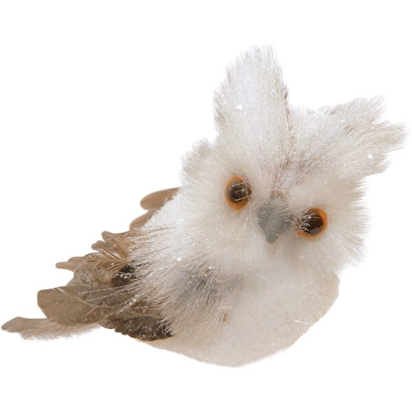 "4.5"" Sparkling White and Brown Horned Owl Christmas Tabletop Decoration"