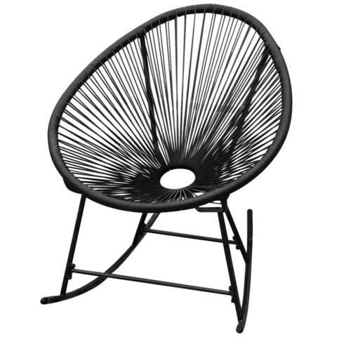 vidaXL Outdoor Rocking Chair Black Poly Rattan