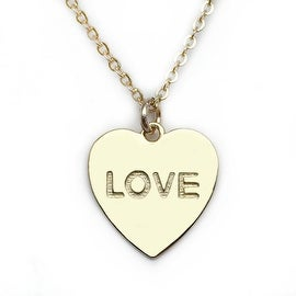 Julieta Jewelry 'Love' Heart Plate Charm Necklace
