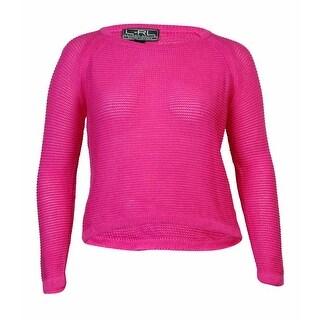 Lauren Ralph Lauren Women's Solid Open Knit Sweater (L, Blaze Pink) - l