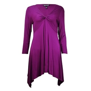 Cable & Gauge Women's V-Neck Handkerchief Knit Jersey Tunic