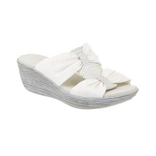 Munro NEW White Women's Shoes Size 10M Vanessa Wedge Slides