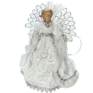 """13"""" Lighted Fiber Optic Angel with White Gown Christmas Tree Topper"""