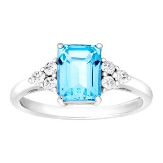 2 ct Natural Swiss Blue & White Topaz Ring in Sterling Silver