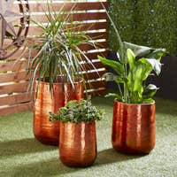 Deals on Studio 350 Set of 3 Modern 13, 16 & 21-In Round Copper Planters