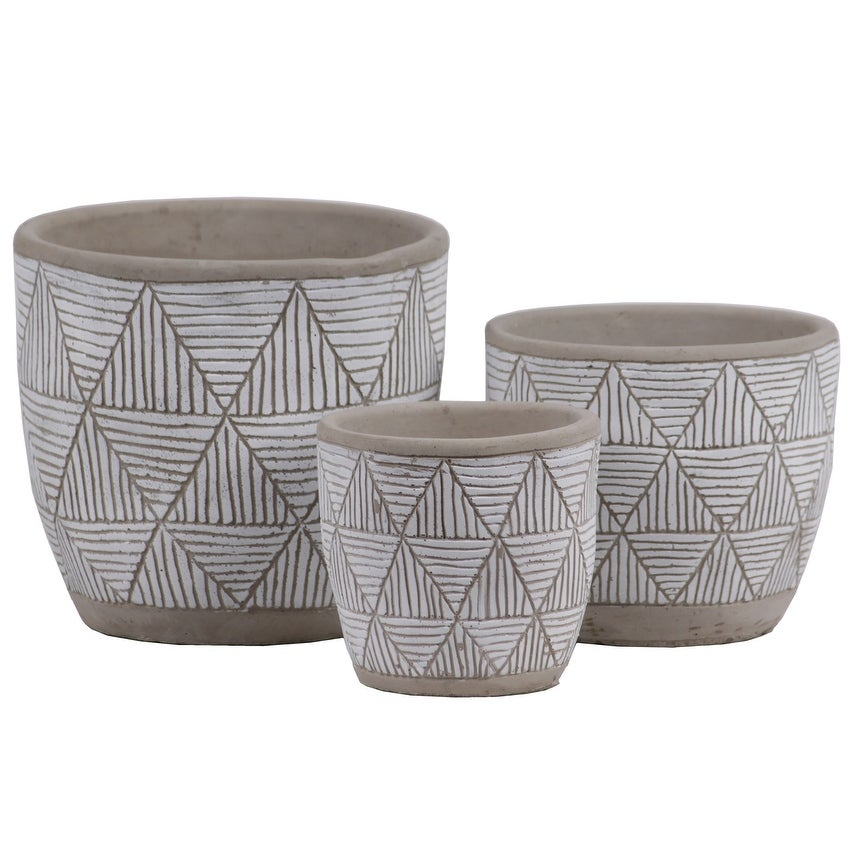 Irregular Stoneware Pot With Embossed Lattice Triangle Design, Set of 3, Gray