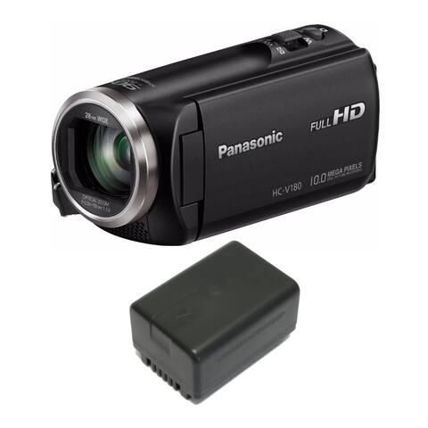 Panasonic V180 Full HD 1080p Camcorder w/ Wasabi VBT190 Spare Battery