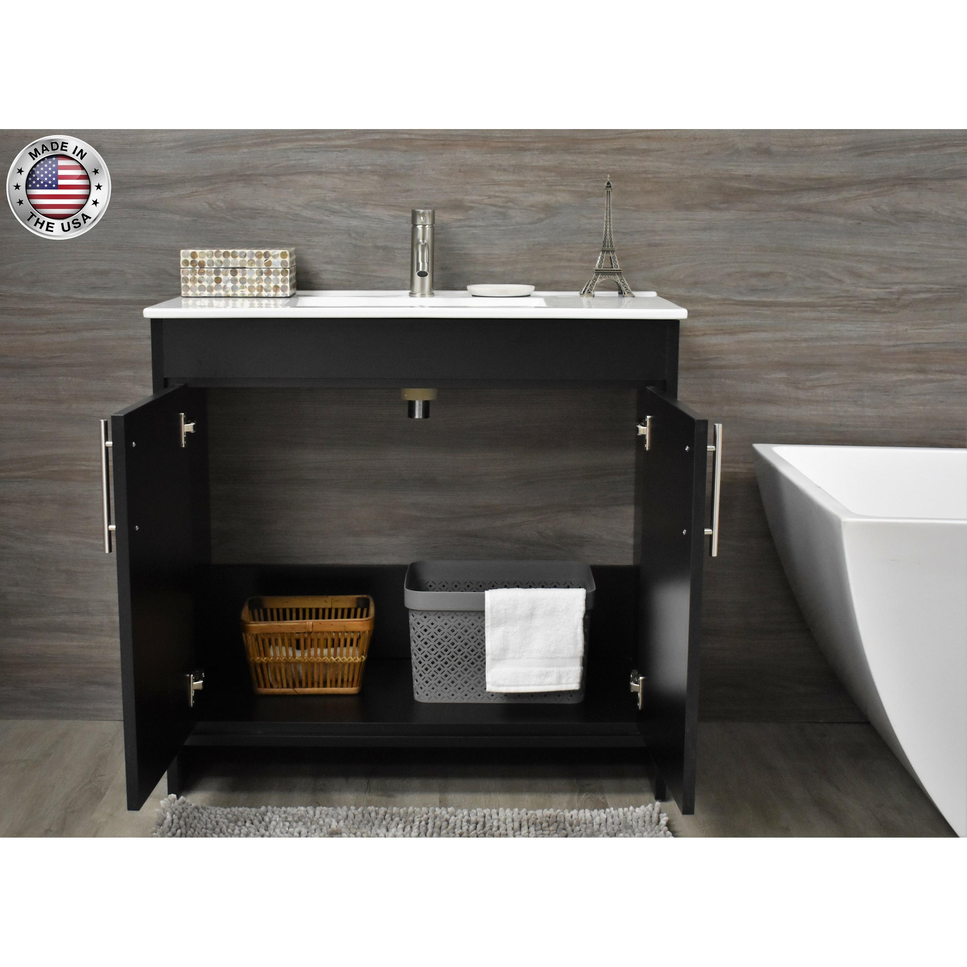 Volpa Usa Villa 36 Inch Black Freestanding Bathroom Vanity Set Overstock 32524596