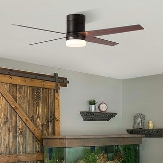 """Link to 52"""" 4 Reversible Blades Flush Mount LED Ceiling Fan with Remote -Bronze/Nickel Similar Items in Desk Lamps"""