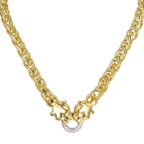 BRONZORO 18 K Gold over Bronze Omega Necklace with Panther