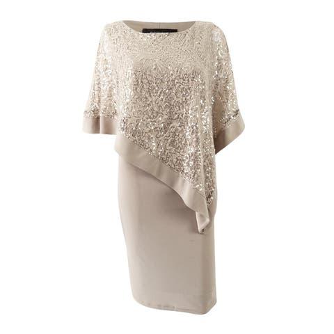 R&M Richards Women's Sequined Lace Cape Dress
