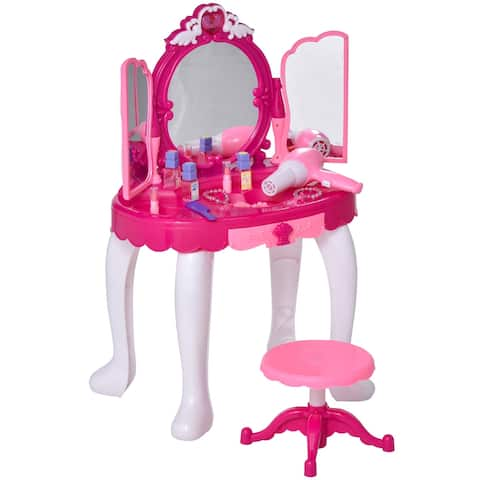 Qaba Infrared Remote Control Kids Dress-up Vanity Pretend Dressing Set with Music Mirror Hair Dryer Nail Polish Necklace