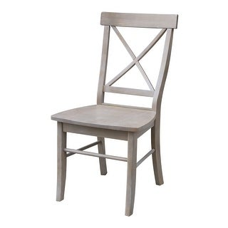X-back Dining Chair with Solid Wood Seat in Washed Gray Taupe - Set of Two