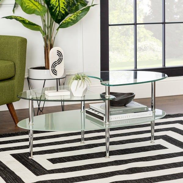 Porch & Den Wallace Oval Coffee Table with Frosted Glass. Opens flyout.