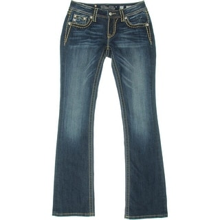 Miss Me Womens Embellished Whisker Wash Bootcut Jeans - 27