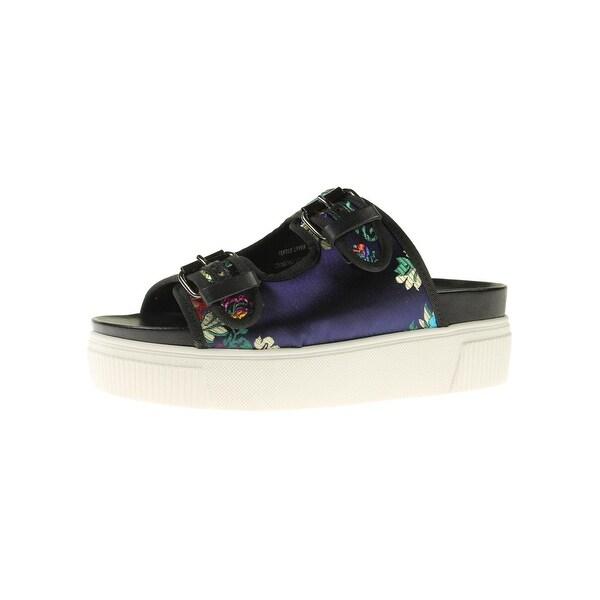 Steve Madden Womens Jace Platform Sandals Satin Embroidered
